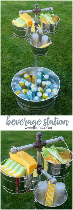DIY Beverage and Paper Goods Station Tutorial ~ So easy to make and could be used for any event from a BBQ to a Holiday Get Together. And the paper goods can be switched by color so easily for any event... Gotta love functional and versatile Outdoor Decor - Awesome!
