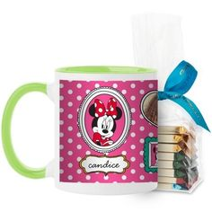 Disney Minnie And Friends Mug, Green, with Ghirardelli Assorted Squares, 11 oz, Pink