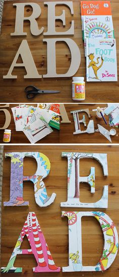 DIY DECOUPAGE DR. SEUSS READ SIGN FOR CHILDREN'S BOOK NOOK - 35 Creative DIY Letters in Life <3 <3