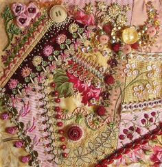 I ❤ crazy quilting & ribbon embroidery . Definately beautiful eye candy ~By brodanni Crazy Quilting, Crazy Quilt Stitches, Crazy Quilt Blocks, Silk Ribbon Embroidery, Embroidery Stitches, Hand Embroidery, Embroidery Patterns, Fabric Art, Fabric Crafts