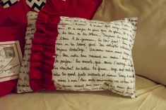 French Poetry Valentine's Pillow - 18 Romantic DIY Home Decor Project for Valentine's Day