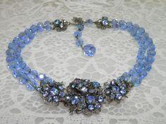 Gorgeous DeMario Baby Blue Crystal, Rhinestone & Silver Filigree Necklace