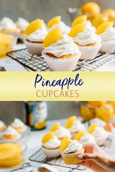Back to school means the next bake sale is right around the corner! Make it easy, and tasty, with our Pineapple Cupcakes recipe. Tip: score an A+ by topping them off with cubed Dole Pineapple Slices! Pineapple Cupcakes, Dole Pineapple, Pineapple Slices, Baking Cupcakes, Cupcake Recipes, Dessert Recipes, Delicious Desserts, Yummy Food, White Cake Mixes