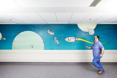 A comforting thread of artwork accompanying kids as they travel from ward to surgery at New Royal London Hospital. By Andrew Rae and Chrissie Macdonald.
