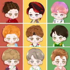 Exo Cartoon, Exo Stickers, Chibi, Exo Anime, Exo Fan Art, Exo Lockscreen, Exo Ot12, Cartoon Art Styles, Kpop Fanart