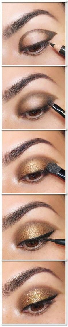 25 Beautiful Eye Make-up Tutorials For Rookies of 2019 Easy Gold Eye Make-up tutorial. Here's a damaged down eye make-up tutorial. What a fantastic technique to get a beautiful eye make-up! Glitter Eye Makeup, Smokey Eye Makeup, Skin Makeup, Beauty Makeup, Beauty Tips, Gold Makeup, Beauty Hacks, Makeup Style, Makeup Geek