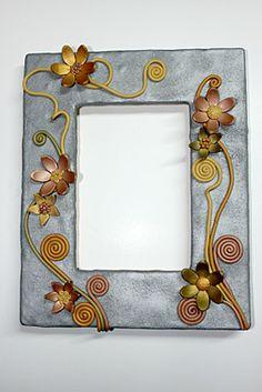 Striking Sculpey Metallic Flower Frame