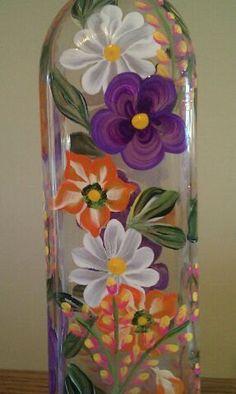 Floral Olive Oil Bottle Hand Painted by PaletteArtWorks on Etsy, $25.00