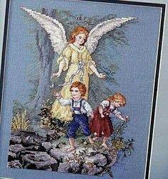 Ángel de la guarda Cross Stitch Angels, Cross Stitch Needles, Cross Stitch Art, Cross Stitch Designs, Cross Stitching, Cross Stitch Embroidery, Cross Stitch Patterns, Crochet Letters, Quilting Rulers