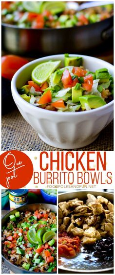 One Pot Chicken Burrito Bowls Recipe – a quick & easy one pot Mexican meal that feeds a crowd. #JustAddRotel #ad #foodfolksandfun