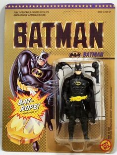 Batman: The Movie Action Figure by Toy Biz. $17.50. Part of the first Batman Michael Keaton Movie 5 inches tall action figure line.. Made by Toy Biz in 1989 and long out of production.. Batman with Retractable Batrope action, Speargun and Batarang!. Hidden inside Batman's Body is a unique retractable mechanism which activates his batrope. Simply pull the line from his belt, attach the hook to a higher lever, release the figure and he moves up the Batrope. Create...