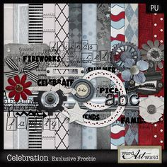 Cute freebie kit for the 4th of July Quality DigiScrap Freebies: Celebration full kit freebie from Word Art World