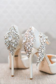 LOVE the embellished heels of these beautiful bridal shoes!