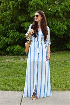 La Mariposa Summer Style: Express Blue Stripe Shirt Maxi Dress