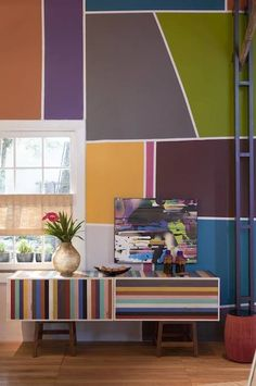 colorful furniture at recycled 600 sq foot cabin photo