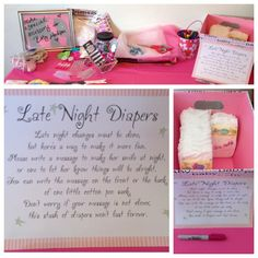 "Headband making station with fun ""late night diaper"" messages on diapers."