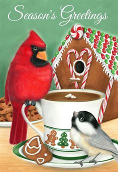 NEW holiday card featuring friends Cardinal and Chickadee sharing treats outside a gingerbread birdhouse Holiday Cards, Holiday Decor, Designs To Draw, Bird Houses, Colored Pencils, Things That Bounce, Gingerbread, Whimsical, Bunny