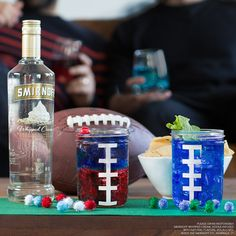 The Blue & Red Northeast Loyalist or the Blue & Green Waterbird? Which drink shows your true #BigGame colors? #Football  The Northeast Loyalist: 1oz Smirnoff Whipped Cream, 1oz blue curacao, 1oz grenadine.  The Waterbird: 1oz Smirnoff Whipped Cream, 1oz blue curacao, 1 part simple syrup.