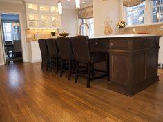 Salvaged oak flooring from original galley kitchen.