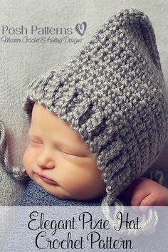Crochet Pattern - Elegant Pixie Hat Bonnet Pattern. Cute for boys and girls!