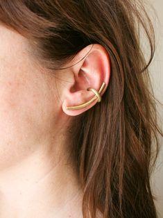 Ear Climbers Gold Brass Cuff Simple Stud Earrings Ear Jackets Ear Pins Ear Crawlers Set Gift Idea For Women #handmade #jewelry #etsy #earrings