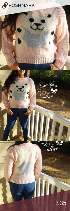 🐼FUZZY KNIT SWEATER ADORABLE CUTE BEAR!🐼🐼🐼🐼🐼 NWOT ! This is the most adorable sweater on the planet! It has a cute bear on the front and on the back.Features Long sleeves and crew neck. This is made completely by hand and it shows! This is extra cozy and unbelievably soft! You will live in this for days! So cute I could die!!!  Fuzzy sweater chunky sweater crop sweater Sweaters Crew & Scoop Necks