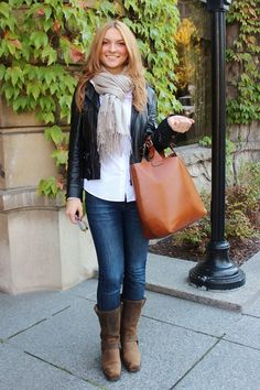 STYLE ADVICE OF THE WEEK: Do You Want Frye's With That?    This week's inspiration Fashionista is rocking a pair of Frye boots in a very modern way. By pairing a fierce leather jacket with a leather bag and leather boots she has a street style look that is perfect for the fall.