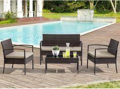 Lounge-Set aus Polyrattan braun mit beigen Auflagen