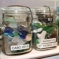 Seaside Memory Jars-love this idea..I would use a cuter jar and label them differently  ;)