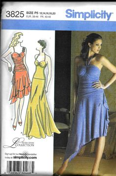 f440c225e Simplicity 3825 Knit Dress Laura Lynn Sewing Pattern UNCUT Salsa Dance  Costume Ballroom Plus Size 12