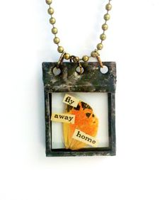 Moth Wings Necklace Fly Away Home Necklace Soldered Specimen Pendant Orange Wing Necklace Collage Art Jewelry Moth Charm. $28.00, via Etsy.