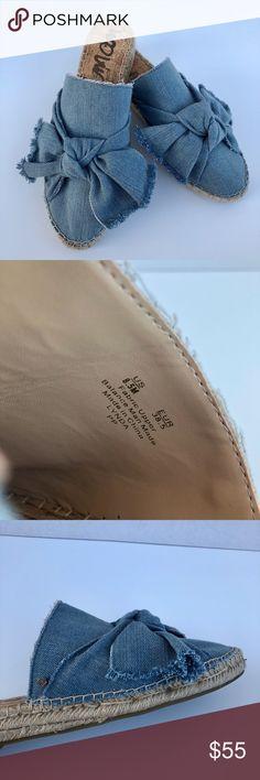 NWOT Sam Edelman Lynda Bow Espadrille Mule Denim NWOT Sam Edelman light blue denim Lynda bow espadrille mule with fringe detailing. Size 8.5 Sam Edelman Shoes Espadrilles