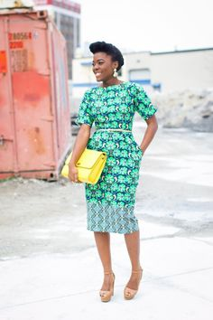 Bright African dress...I don't know about the two patterns though.