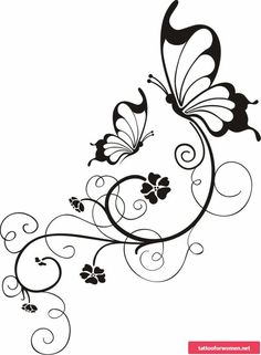 Blumenranken Tattoo: 20 beautiful templates for various parts of the body - Tattoos - Protein Wood Burning Crafts, Wood Burning Patterns, Butterfly Drawing, Butterfly Tattoo Designs, Embroidery Patterns, Hand Embroidery, Stencil Patterns, Art Papillon, Body Template