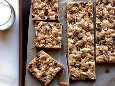 Chocolate-Chip-Pecan Cookie Bars by Food & Wine via huffingtonpost #Cookies #Chocolate #Pecan #foodandwine #huffingtonpost