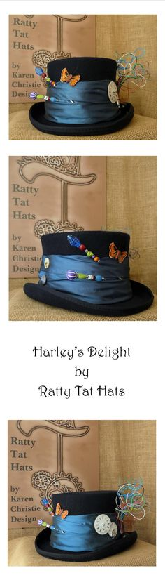 Harley's Delight, a Ladies' Navy Steampunk top hat inspired by characters from DC Comics