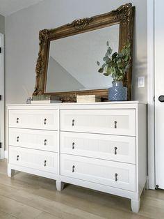 Ikea Hack Bedroom, Bedroom Furniture Makeover, Bedroom Dressers, Bedroom Decor, Ikea Dresser Makeover, Ikea Interior, Master Bedroom Bathroom, Inexpensive Furniture, Fabric Bins