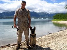 Dog handler Marine Corp. Max Donahue stateside with MWD Ronni, his first dog - military or otherwise. (Photo courtesy of Julie Schrock)
