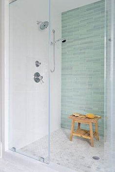 Love That Glass Tile Is All On One Wall   Maybe On Our Wall With The Bench       Sea Green Glass Tile, White Subway Tile, Frameless Shower Door, ...