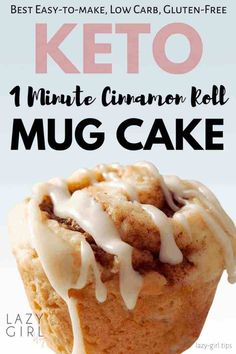 1 Minute Keto Cinnamon Roll Mug Cake - Lazy Girl This keto mug cake recipe is truly one of the best recipes for keto. A single serving cinnamon roll mug cake that cooks in the microwave. It is also paleo, gluten-free and wheat-free. Mug Cinnamon Roll, Keto Cinnamon Rolls, Cinnamon Roll Cakes, Cinnamon Muffins, Cinnamon Cookies, Cinnamon Spice, Egg Muffins, Ground Cinnamon, Oatmeal Cookies