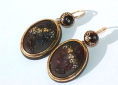 antique pique jewelry | Victorian tortoiseshell earrings w/pique work