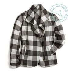 Not mad about checkered plaid! Try a statement second-layer to transition from breezy summer evenings to full-on fall.