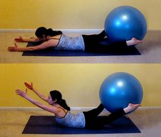 Glutes Exercises For Exercise Ball: this is perfect for at-home workouts. Probably my favorite glute workout without lifting weights- glúteos y lumbar Pilates, Fitness Diet, Fitness Motivation, Health Fitness, Fitness Quotes, Health Diet, Back Exercises, Glute Exercises, Training Exercises
