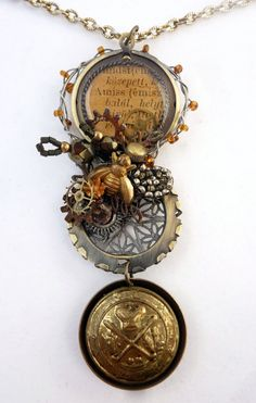 OOAK Mixed Media Steampunk Necklace  Assemblage by BluePigDesigns, $36.00