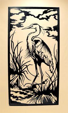 Wall Hangings Metal Wall Hanging Animal, Heron in Reeds - vertical | Gifts Of Art