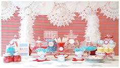 Another red aqua dessert table