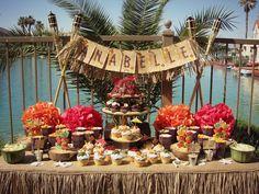 Vintage Hawaiian Luau - love the Tiki god popcorn holders and cute cupcakes, plus the signage