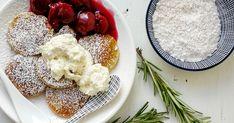 Poffertjes, a holland minipalacsinta rozmaringos meggykompóttal Camembert Cheese, Food, Essen, Meals, Yemek, Eten