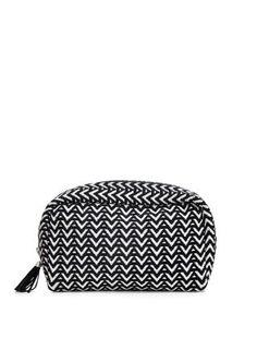 Handbag-sized and super stylish - the Monochrome Aztec Print Make Up Bag. #newlook #beauty