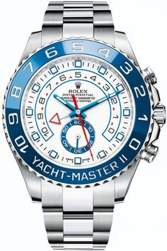 the mack daddy of all watches. men's fashion and style. accessories that make the outfit. Rolex Yachtmaster II Stainless Steel / Blue Bezel